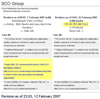 Wikipedia page showing material deleted by SCO IP address